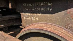 Údaje na železničním voze Veronika, voze pro přepravu roztaveného surového železa.