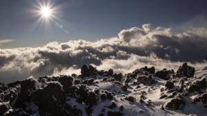 Okolí horní stanice lanovky na Etnu