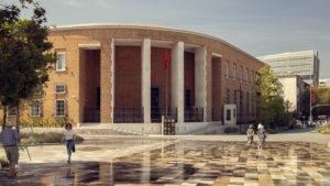 Budova Národní banky na náměstí v Tiraně