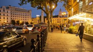 Městem Tbilisi jsem se procházel až do večerních hodin a poté jsem metrem odjel do hotelu. Stanice metra byla asi 200 metrů od Náměstí Svobody na fotografii