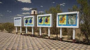 Informační tabule o zkáze Aralského moře - jezera.